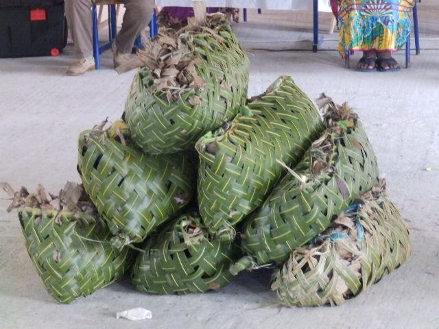 Paniers d'ignames : Geste d'aurevoir de la région de Nengone