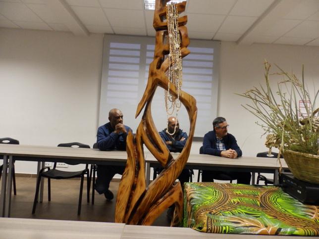 Les membres de l'église lors de cette rencontre, pasteur KASOVIMOIN Eric, IHAGE Victor et HOUDARD Olivier.