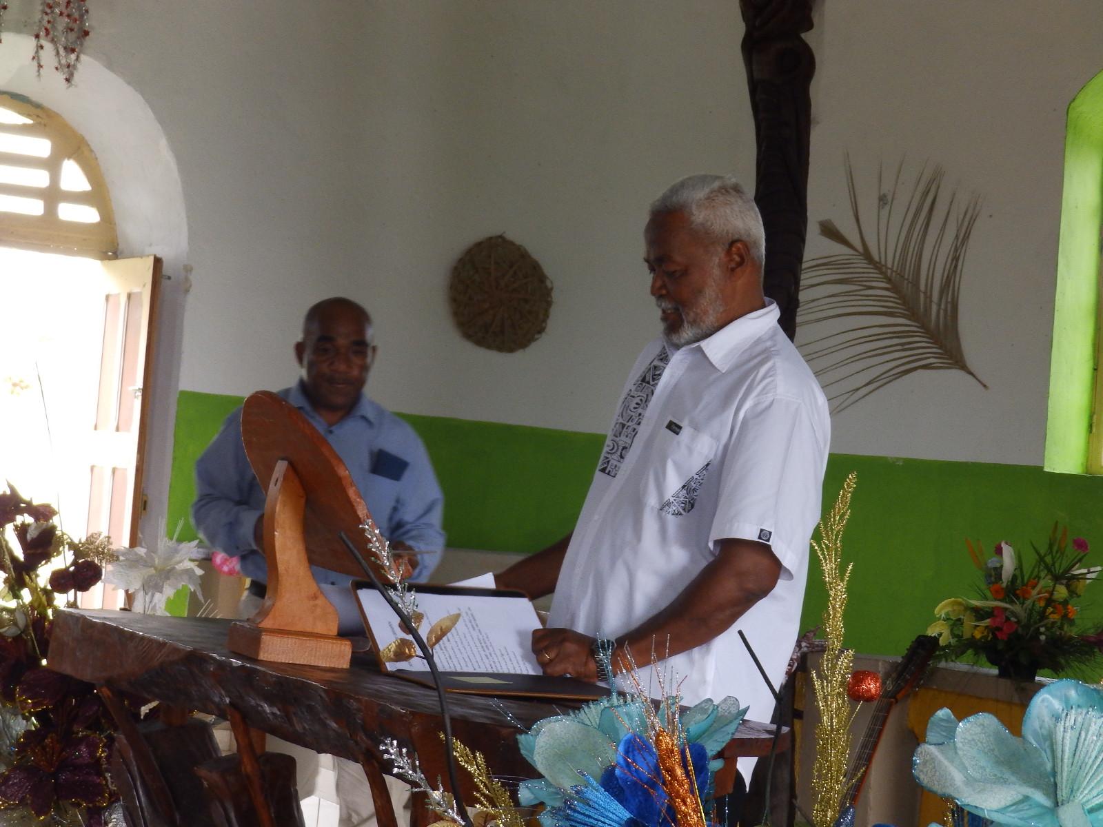 Pasteur KAEMO Höcë, président de l'EPKNC lors du culte de graduation.